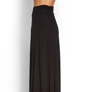 BOBEAU Simple Soft Long Black Maxi Skirt S
